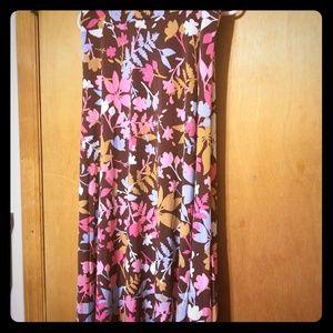 L brown floral maxi skirt